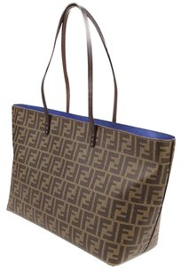 Fendi Tote in tobacco with blue inner canvas