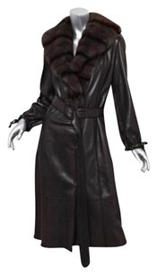 Fendi Womens Leather Trench Coat