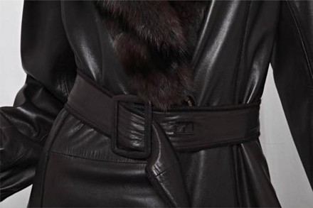 Fendi Womens Brown Leather Genuine Fur Collar Belted Trench Jacket Coat 426 delicate