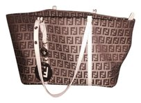 Fendi Zucca Zucca Zucca Fen Tote in Tan and White