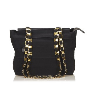 Salvatore Ferragamo Black Fabric Gold Shoulder Bag