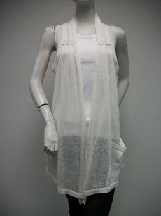 Fever See Thru Open Vest Linen Blend Front Pockets Sweater