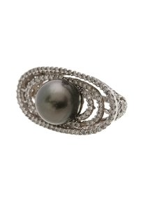 Other 14K White Gold Tahitian Black Pearl & Diamond Cocktail Ring