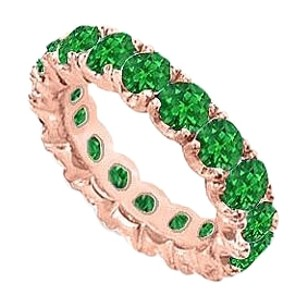 Fine Jewelry Vault 10 Carat Eternity Bands Emerald Created Prong Set 14K Rose Gold