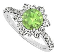 Fine Jewelry Vault 14K White Gold August Birthstone Peridot & CZ Floral Ring