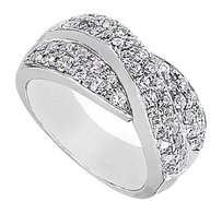 Fine Jewelry Vault 14K White Gold CZ Crossover Ring with 1.50 Carat Total gem Weight
