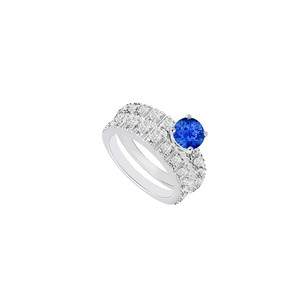 Fine Jewelry Vault 14K White Gold Sapphire and Diamond Engagement Ring with Wedding Band