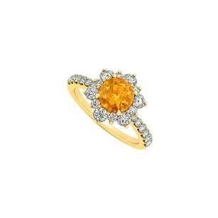 Fine Jewelry Vault 14K Yellow Gold Citrine and CZ Floral Engagement Ring