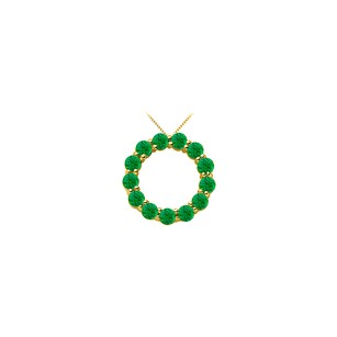 Fine Jewelry Vault 14K Yellow Gold May Birthstone of Created Emerald Circle Necklace