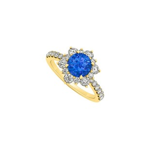 Fine Jewelry Vault 14K Yellow Gold Sapphire and CZ Floral Engagement Ring