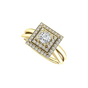 Fine Jewelry Vault Square Cubic Zirconia Double Halo Style Ring In Gold