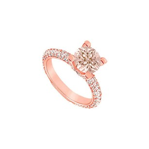 Fine Jewelry Vault 4 Prong Set Morganite with CZ Accents on 14K Rose Gold Vermeil