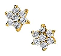 Fine Jewelry Vault April Birthstone Diamonds 7 Stone Cluster Earrings in 14K Yellow Gold