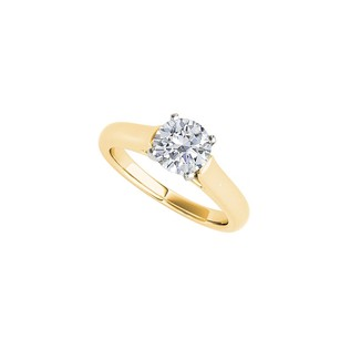 Fine Jewelry Vault Awesome CZ Solitaire Engagement Ring 14K Yellow Gold