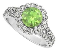 Fine Jewelry Vault Awesome Peridot and CZ Halo Engagement Ring 2.00 TGW