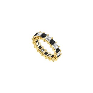 Fine Jewelry Vault Black and White Diamond Eternity Band 14K Yellow Gold 5.00 CT Diamonds