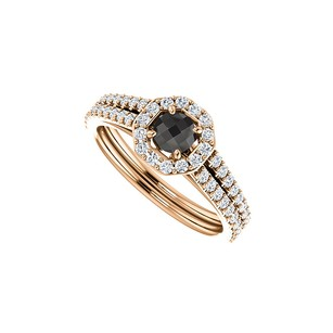 Fine Jewelry Vault Black Onyx CZ Halo Octagon Style Ring in 14K Rose Gold