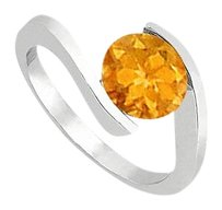 Fine Jewelry Vault Citrine Solitaire Fashion Ring in 14K White Gold High Polish