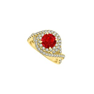 Fine Jewelry Vault Closet Special Ruby CZ Criss Cross Engagement Ring
