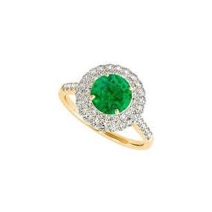 Fine Jewelry Vault Created Emerald CZ Halo Engagement Ring in 14K Yellow Gold