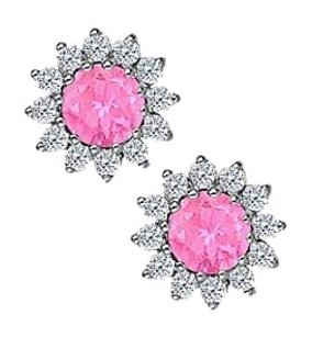 Fine Jewelry Vault Created Pink Sapphire with CZ Earrings in 14K White Gold