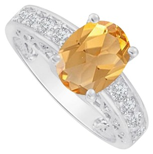 Fine Jewelry Vault Cubic Zirconia and Oval Citrine Ring 14K White Gold