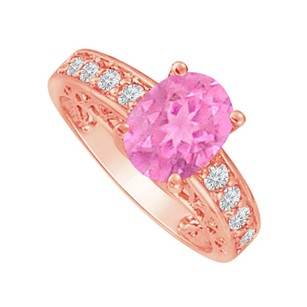 Fine Jewelry Vault Cubic Zirconia and Pink Sapphire Rose Gold Ring