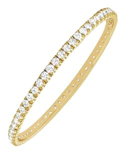 Fine Jewelry Vault Cubic Zirconia Eternity Bangle 14K Yellow Gold 5.00 CT CZs