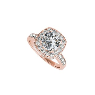 Fine Jewelry Vault Cubic Zirconia Square Halo Engagement Ring Rose Gold