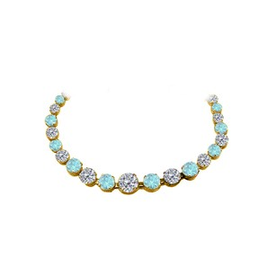 Fine Jewelry Vault CZ Aquamarine Graduated Necklace Yellow Gold Vermeil
