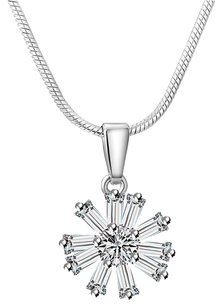 Fine Jewelry Vault CZ Flower Latest Designs Pendant White Hue with Chain