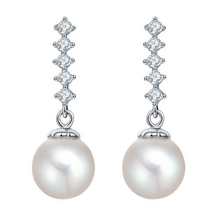Fine Jewelry Vault CZ Water Freshwater Pearl Drop Earrings for Women