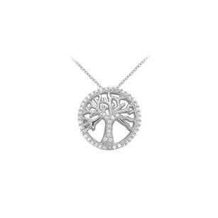 Fine Jewelry Vault Diamond Fancy Circle Fashion Pendant in 14K White Gold 0.25 CT TDW