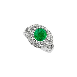 Fine Jewelry Vault Emerald and Cubic Zirconia Double Halo Engagement Ring