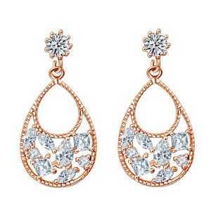 Fine Jewelry Vault Fancy Cubic Zirconia Beaded Teardrop Drop Earrings