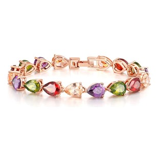 Fine Jewelry Vault Fancy Multi Color Pear Gemstones Bracelet in Rose Hue