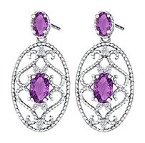 Fine Jewelry Vault Fancy Oval Amethysts and Round CZ Earrings in 14K White Gold