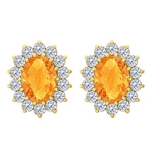 Fine Jewelry Vault Fancy Oval Citrine and CZ Halo Stud Earrings in 14K Yellow Gold