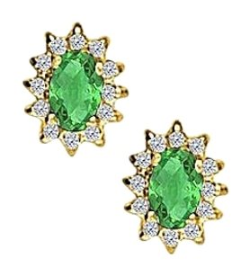 Fine Jewelry Vault Fancy Oval Emerald and CZ Halo Stud Earrings in 14K Yellow Gold