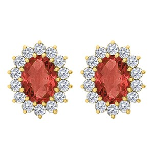 Fine Jewelry Vault Fancy Oval Ruby and CZ Halo Stud Earrings in 14K Yellow Gold