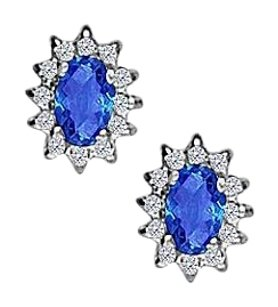 Fine Jewelry Vault Fancy Oval Sapphire and CZ Halo Stud Earrings in 14K White Gold