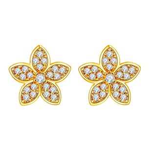 Fine Jewelry Vault Floral Petal Style Cubic Zircon Stud Earrings Yellow Hue