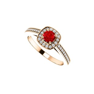 Fine Jewelry Vault July Birthstone Ruby and CZ Square Halo Ring 14K Gold