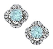 Fine Jewelry Vault March Birthstone Aquamarine with CZ Earrings in 14K White Gold