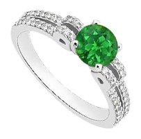 Fine Jewelry Vault May Birthstone Created Emerald & CZ Engagement Rings