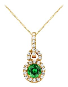 Fine Jewelry Vault May Birthstone Emerald with CZ Halo Pendant in 14K Yellow Gold