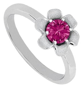 Fine Jewelry Vault Pink Sapphire Flower Shape Ring in 14K White Gold Classy Looks Affordable Price Range
