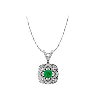 Fine Jewelry Vault Round Emerald Artful Gold Pendant and V Shape CZ Bail