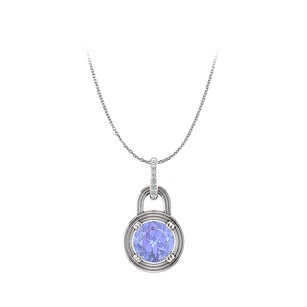 Fine Jewelry Vault Round Natural Tanzanite Diamonds 14K White Gold Pendant