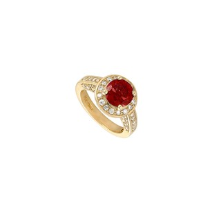 Fine Jewelry Vault Ruby and Diamond Engagement Ring 14K Yellow Gold 4.00 CT TGW